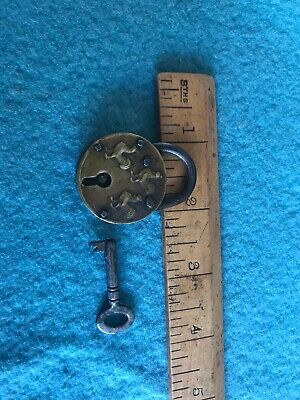 Unusual Small antique Round  Brass Padlock With Key 3 Cockerels Design VGC