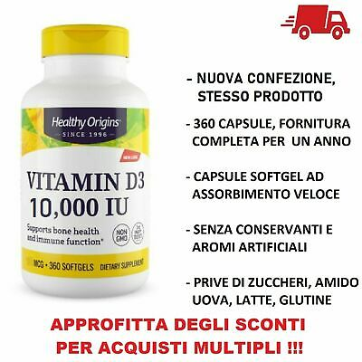 Healthy Origins Vitamina D-3 D3 10000 IU 10,000iu 360 pillole softgels VITAMINE