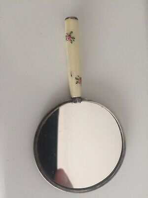 small hallmarked sterling silver hand mirror enamel handle