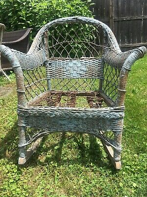 Antique Victorian Wicker CHAIR Original Blue Paint Built In Springs OLD RARE VG
