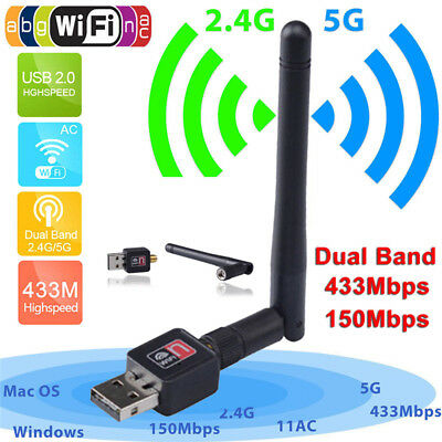 150Mbps Dual Band 2.4Ghz Wireless USB WiFi Network Adapter Antenna 802.11 GY FPE