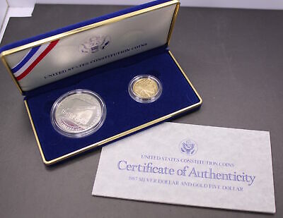 US Constitution 2 Coin Proof Set (1987 Silver Dollar and Gold Five Dollar Coins)