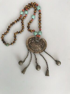 Unusual Large Antique Chinese Tested Silver Necklace