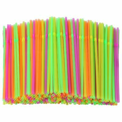 Neon Flexible Bendy Birthday Party Drinking Straws Assorted Colored Neon
