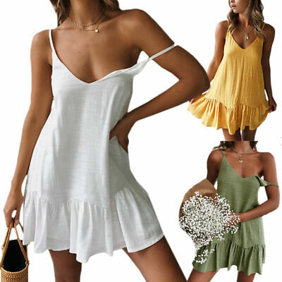 Women V-neck Slip Dress Mini Ladies Strap Sundress Sleeveless A-line Plain Frill