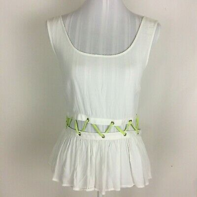 Womens MATERIAL GIRL  White & Lime Lace Up Waist Top Medium