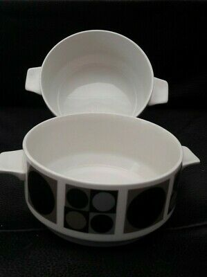 Vintage Midwinter Pottery soup bowls Shapes Pattern By Queensbury Retro dish