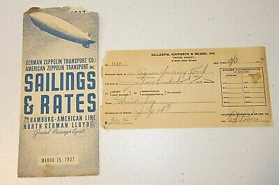 Rare HINDENBURG Zeppelin 1937 SCHEDULE & Travel Agent PASSENGER TICKET DEPOSIT