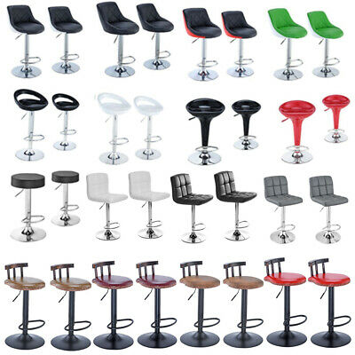 1/2 X Pu Leather Barstools Gas Lift Bar Stools Breakfast Armrest Kitchen Swivel