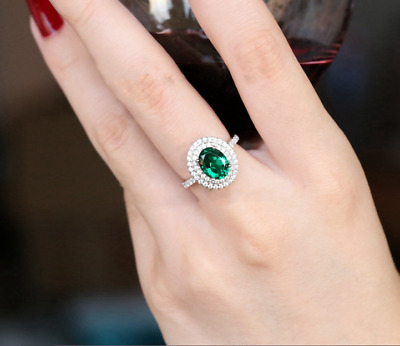 2.50Ct Oval Cut Green Emerald Double Halo Engagement Ring 14K White Gold Finish