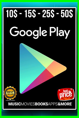 Google Play Card $10 - 15$ - 25$ - 50$ US