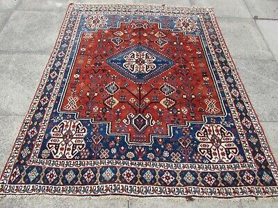 Antique Worn Traditional Hand Made Oriental Red Blue Wool Rug 183x152cm