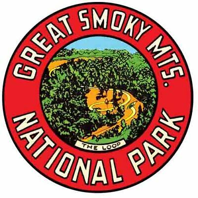Great Smoky Mountains National Park   Vintage 1950's Style Travel Decal sticker