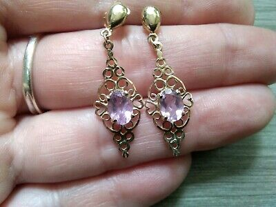 9ct Yellow Gold Filled Dangle Drop Earrings with SWA Crystal Flower UK Gift 388
