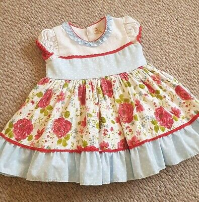 Baby Girl Blue white floral Spanish Beautiful summer Dress Bea Cadillac zip 3A
