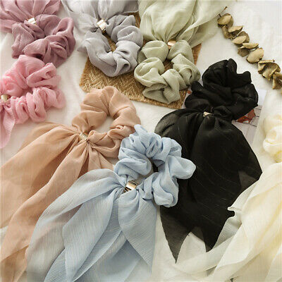 Double Layer Bow Chiffon Long Ribbon Scrunchie Hair Scarf Rubber Bands Hair Ties