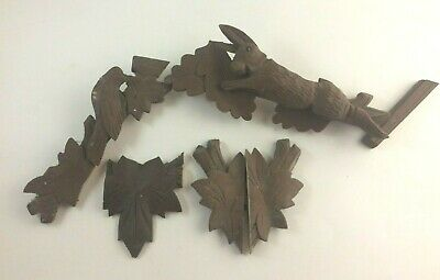 Vintage Carved Black Forest Cuckoo Clock Wood Crest Topper Parts & Pieces