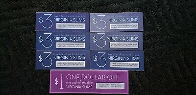 Lot of 7 VIRGINIA SLIMS Coupons $19 off