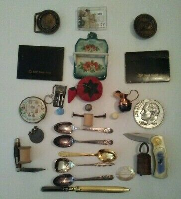 Collectible Lot Junk Drawer Lot. Pocket Knives Belt Buckles Spoons