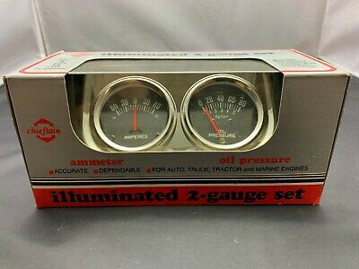 NOS Dual Oil Pressure & Amp Gauge and Panel Hot Rod Rat Rod Street Rod CHEVY GM