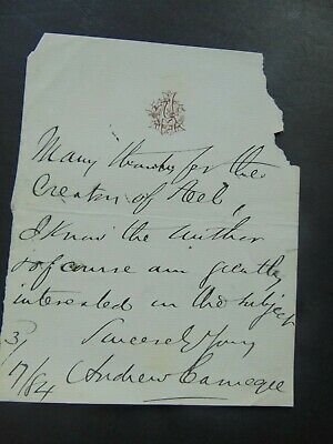 1884 Andrew Carnegie Autograph Letter Signed - Letter About The Creator Of Steel