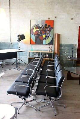 HERMAN MILLER EAMES ALUMINUM GROUP MANAGEMENT CHAIR BLACK LEATHER (6 Available)