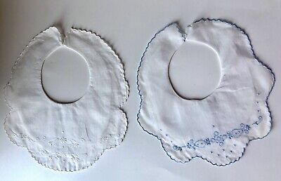 Vtg Embroidered White Linen Formal Baby Bibs Phillipines Numbered Lot of 2 Blue