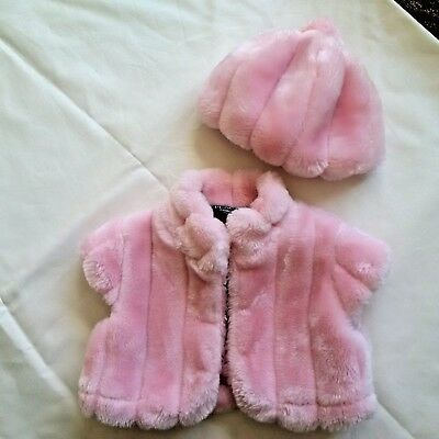 'The Childrens Place' Baby Girls Fur Bolero & Pom Pom Hat Set, Excellent Conditi
