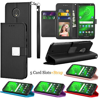 For Motorola Moto G6 XT1925 / Moto G 6th Gen PU Leather Card Holder Wallet Case