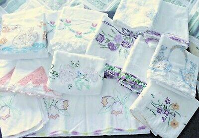 Vintage Embroidered 16 Pillowcases LOT Southern Belles Swans Floral Crochet Trim