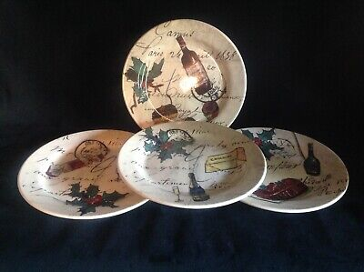"""WILLIAMS SONOMA Holiday Party Set of (4) 8 3/4"""" Salad/Luncheon Plates"""