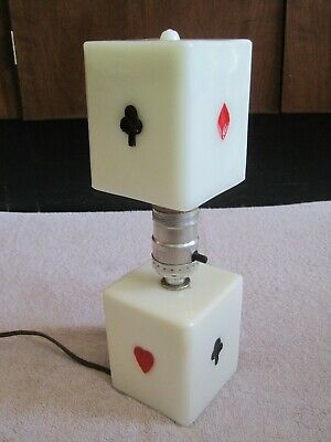 Vintage Antique Art Deco Milk Glass Table Lamp Playing Cards Suits Poker