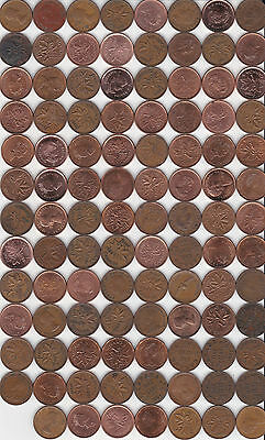 ( 99 ) Different Canada 1c Coins - 1920 to 2012 steel