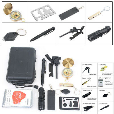 10 in 1 SOS Emergency Tactical Survival Equipment Kit Outdoor Gear Tool Camping