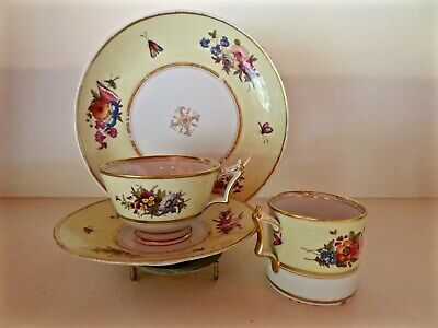 Very Rare Worcester Flight Barr Barr Yellow Ground Porcelain Trio + Plate c 1810