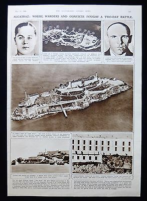 BATTLE OF ALCATRAZ FEDERAL PENITENTIARY GAOL JAIL PRISON 1pp PHOTO ARTICLE 1946