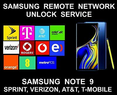 Samsung Note 9 N960U N960U1 Remote Unlock Carrier Usa Sprint Boost At&T T-Mobile