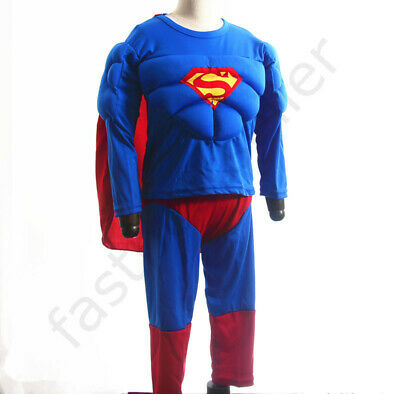 2-7 Superman Boys Kids 3pc Muscle Costume Set Halloween Party Dress Gift Outfit