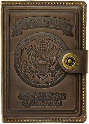 Leather RFID Blocking US Passport Holder Cover ID Card Wallet - Travel case