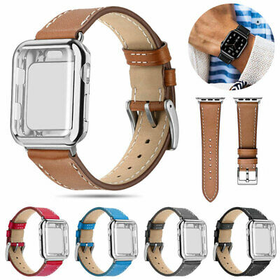 Leather Bands For Apple Watch Strap with Case Series 5 4 3 2 1 Sport and Edition