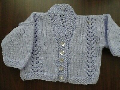 Baby Hand Knitted Cardigan In Mauve Chest : 24 Cm