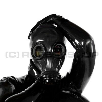 Fetish Gas Mask For Latex Rubber Hood Leather Gothic Catsuit Corset Gloves Skirt