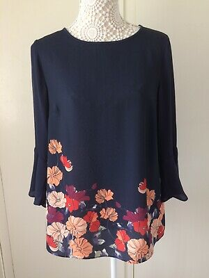 Ladies Navy Blue Floral Chiffon 3/4 Sleeve Soon Top - Size 10