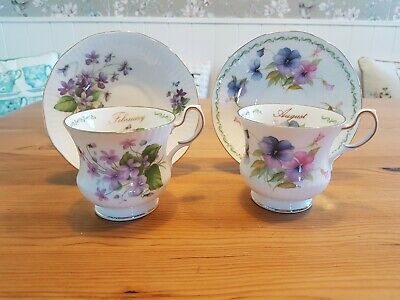 Queens Bone China February & August Floral Teacup Duos