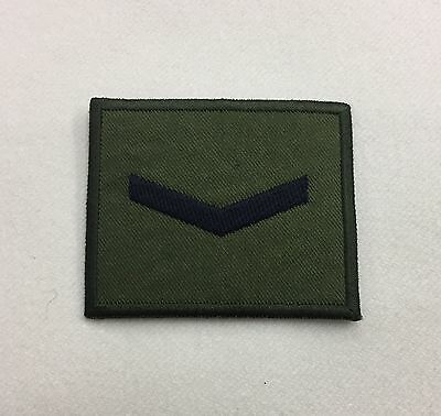 Lance Corporal Green Rank Badge, LCpl 1 Bar Army MTP Military Patch, Hook & Loop