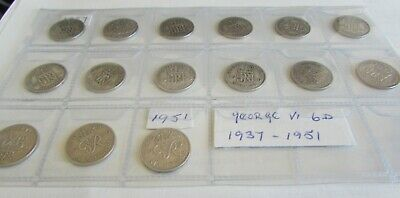My George vi Collection of Sixpence's 1937 to 1951 .In great Condition