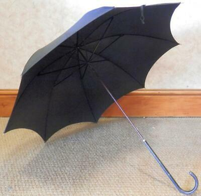 Vintage Paragon 'Longlive' Umbrella - Cladded Leather Crook Handle & Gold Collar