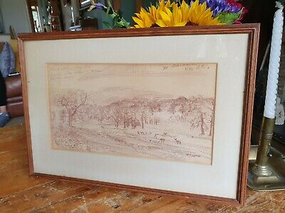 Vintage Landscape Drawing With Written Word