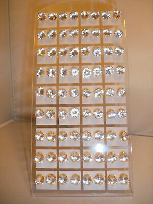 Joblot of 36 Pairs Gold colour clear round 8mm Crystal stud Earrings - wholesale