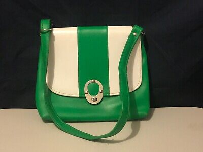 Green and White Small Handbag Retro Pre-Owned